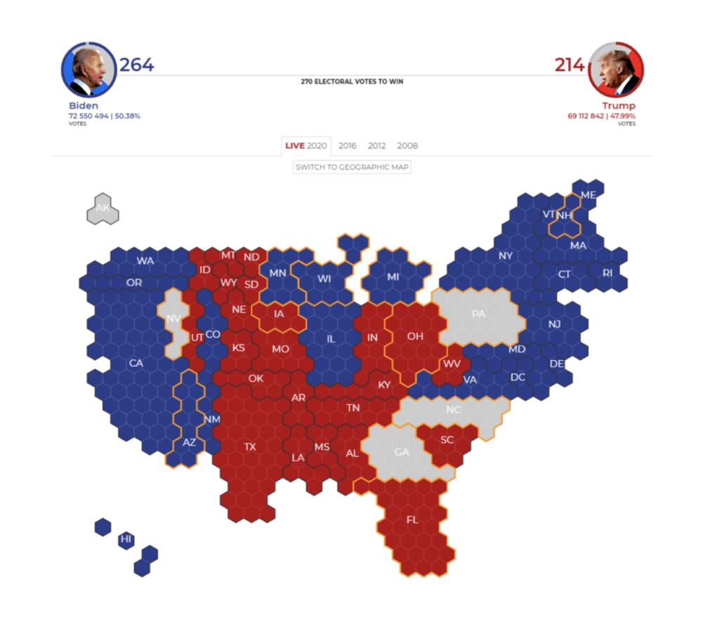 Carte coroplethe dataviz élections US