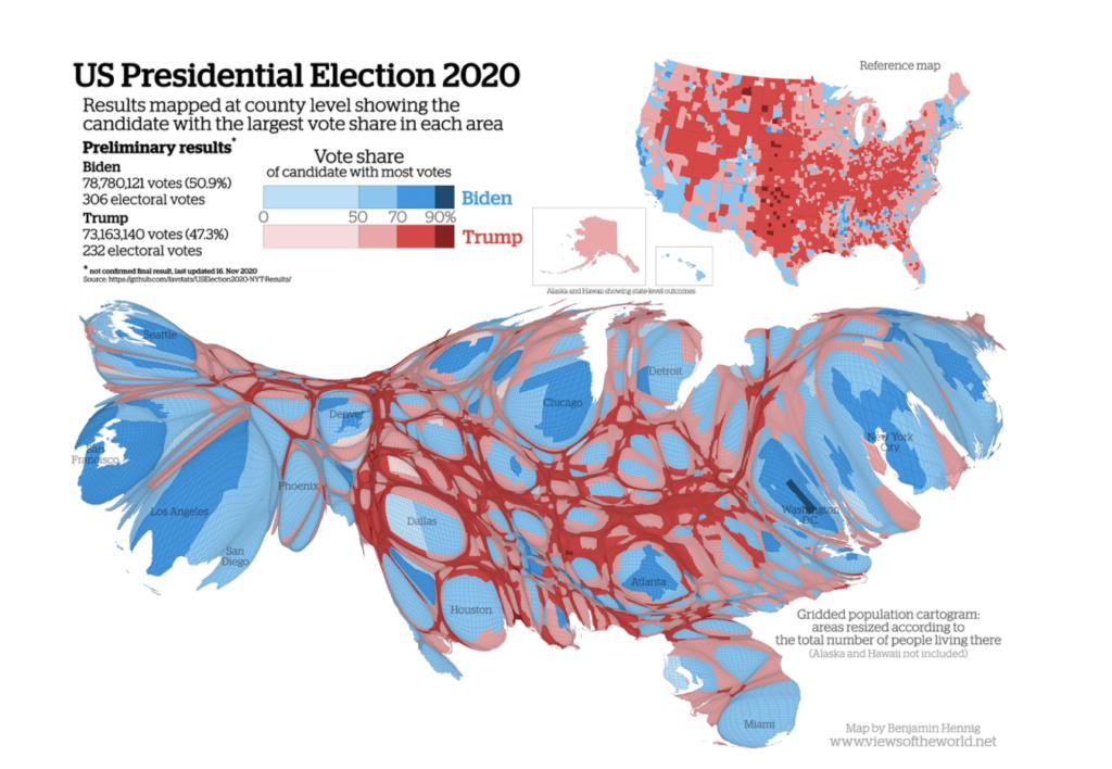 Cartogramme dataviz US élections